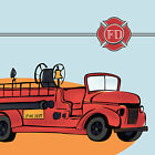 Fire Fighter Truck Rescue Department Emblem~Firemen Fabric Quilt Square-Style #1