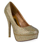 NEW WOMENS GOLD SHIMMER DIAMANTE LADIES PLATFORM STILETTO COURT SHOES SIZE 3-8