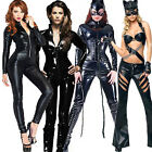 Ladies PVC Leather Dress Coat Catsuit Catwoman Fetishwear Lycra Bodysuit Catsuit