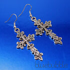 GOTHIC STYLE CARVED CROSS EARRINGS ROCK METAL VINTAGE PUNK EMO BURLESQUE FAITH