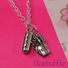 FUNKY SILVER FAST FOOD CHARM NECKLACE CUTE KITSCH RETRO JUNK STYLE EMO PENDANT