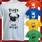 Pugs not Drugs RUSSELL HOWARD funny  Pug Dog T-Shirt Brand New All Sizes
