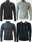FRED PERRY T-Shirt Men's L/S Twin Tipped Polo Pique Navy Black Charcoal L - XL