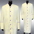 Clergy Robe All Sizes Solid Cream Purple Piping Cassock Full Length Preacher