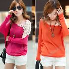 Women Clothing Batwing Sleeve Knitting Patchwork Casual Loose T-Shirt Tops Tee