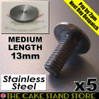 5 x Cake Stand Handle/Rod Bottom Plate Medium Flat Head Bolts (13mm long thread)