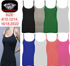 LADIES STRETCH STRAPPY CAMISOLE VEST WOMENS SLEEVELESS PLAIN TOP T-SHIRT 8-14