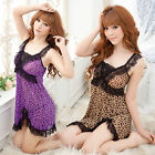 Purple Brown Leopard Lingerie Babydoll Dress Chemise Nighty M L XL 2XL