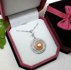 B8429 luxury STERLING SILVER freshwater Pearl Pendant Necklace (Peach, Lavender)