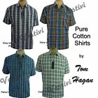 Mens Casual Summer Short Sleeve Check Checked Pure Cotton Shirt By Tom Hagan