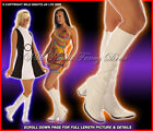 60's 70's LADIES HIPPY GOGO BOOTS INC WHITE PINK SILVER