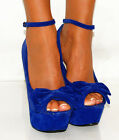 LADIES FAUX SUEDE BLACK TURQUOISE BLUE COURT HIGH HEELS SHOES SIZES 3,4,5,6,7
