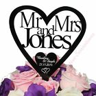 Personalised Acrylic Wedding Cake Topper Heart Mr&Mrs Surname Custom Decoration