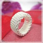 plated silver charm mesh ring SIZE:8,9,10#