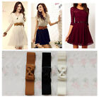 Women Lady Graceful Bowknot Elastic Bow Tie Waist Belt Buckle Waistband Stretch