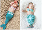 3pcs Baby Girl Infant Newborn Knit Crochet Mermaid Clothes Photo Prop Outfit