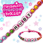 Personalised Bracelet Friendship Name Letter Message Alphabet Bead Pink Rainbow
