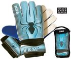 NEW VKM GK18 Soccer Goalie Goal Gloves w/ Finger Saver Protection Sizes 4-9 Blue