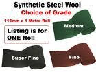 Synthetic wire wool - ideal to apply wax polish to wood - CHOICE 115mm x 1M Roll