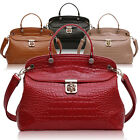 Ladies Designer Leather Style Patent Croc Tote Satchel Top Handle Bag Handbag