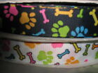 "Paws and Bones 22mm 7/8"" Grosgrain Ribbon - choice of 1m or 5m, white or black"
