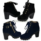 Women Comfortable Buckle Heel Platform Lace Up Warm Martin Boots Pump Shoes S0BZ