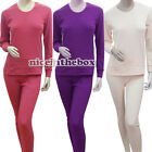 N98B Long Sleeve M-XL 2Pc Women Thermal Underwear Set Long Pajama Top&Bottom
