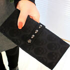 Women's PU Leather Button Fashion Skull Clutch Lady Long Hand Bag Wallet Purse