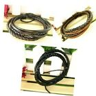 2pcs Wrap Multilayer Genuine Leather Bracelet with Braided Cuff Men & Women