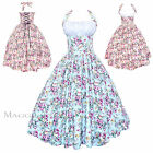 Maggie Tang 50s VTG Pinup Floral Rockabilly Cos Party Prom Swing Dress S-509