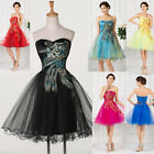 DESIGNER BLACK 50s PEACOCK Evening Party Gown Wedding Bridesmaid Prom Dress MINI