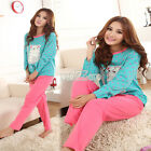 S0BZ Winter Sleepwear Sleep Long Sleeve Cat Cartoon Pattern Cotton Pajamas Women