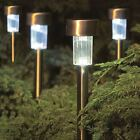 New Stainless Steel Solar Power Garden Lights Sun Powered Rechargable Lanterns