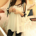 Women Sexy Off Shoulder 3/4 Sleeve Ribbon Blouse Loose Chiffon Tops S M L XL