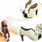 Sexy Lady Boots Beige Woman New High Heel Tie Platform Bow Pump Ankle Shoes S0BZ