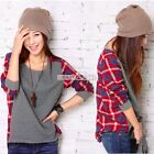 S0BZ Korea style Women Long Sleeve Crew Neck Plaid Checks Casual Loose T-Shirt