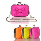 S0BZ New Candy Color Bowknot Small Clip Package Clutch Bag 3Colors