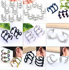 Stainless Steel Closure Fake Cartilage Hoop Wrap Clip On Cuff Earring Cool Punk