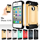 For iPhone 4 4S Black Rugged Rubber Matte Hard Case Cover with Screen Protector