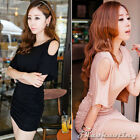 Sexy Womens Lady Crew Neck Off Shoulder Party Club Wear Tight Mini Dress S Black