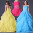 Luxury Sexy Organza Layers Beads Tulle Quinceanera Bridesmaid Evening Prom Dress