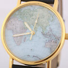 Women's World Map Style Round Face Leatheroid Band Quartz Movement Wrist Watches