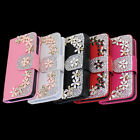 Hot Sale Wallet Bling Flower For iPhone 4G 4S Magnetic Leather Flip Case Cover