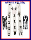 MENS WOMENS CLIP-ON SUSPENDERS ELASTIC Y-SHAPE ADJUSTABLE SPIDER WEB OR SKULL
