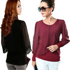 Ladies Casual Long Sleeve Crew Neck Chiffon Top Sexy Shirt Blouse 3 Color 6 Size