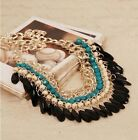 Fashion Lots layered Gem Beads Tassel Bib Choker Vintage Gold Necklace Free Ship