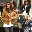 N98B New Lady Jackets Short Synthetic Leather Outerwear Long sleeve Coats 3Color