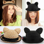 Fashion Girls Round Brim Nifty Cat Ears Hat Street Road/Shopping/Travel Hat H100