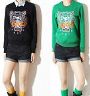 Green and Black Colour Tiger Head Embroidered Long Sleeves Jumper/T Shirt