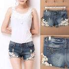 New Womens Lace Flower Skinny Jean Shorts Cut-Off Denim Short Pant Trouser O